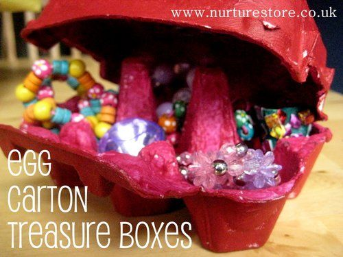 Turn an egg carton into a pirate or princess treasure box. This would be a great classroom idea. Treasure hunt for the girls to go find girly treasure and another for the boys.