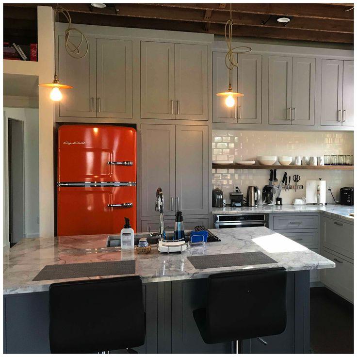 Big Chill Original Retro Refrigerator in Orangewith Dove Gray Cabinets #kitchen #retro #interiordesign #kitchendesign #fridge