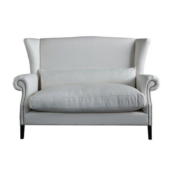 Divano imbottito 2 posti bianco con seduta sfoderabile