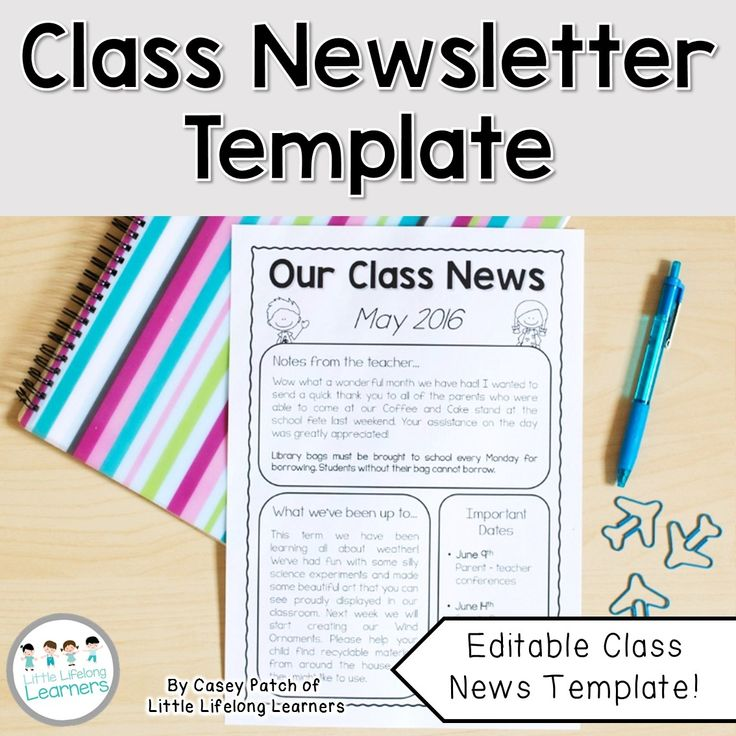Best Classroom Newsletter Images On   Newsletter