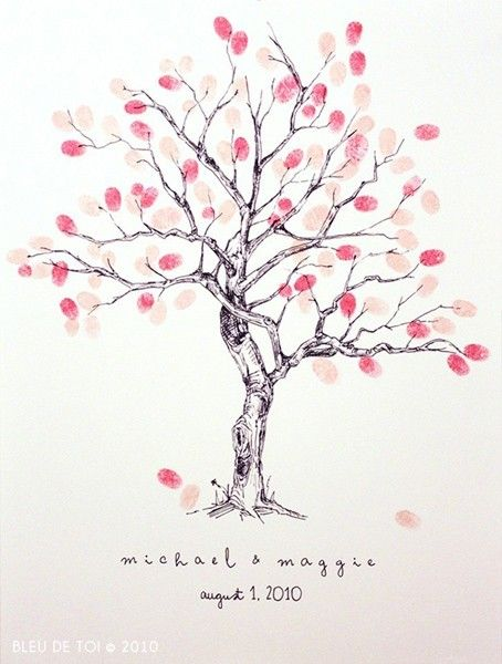 hand drawn tree print -finger print for every guest when they come to the home/or family tree