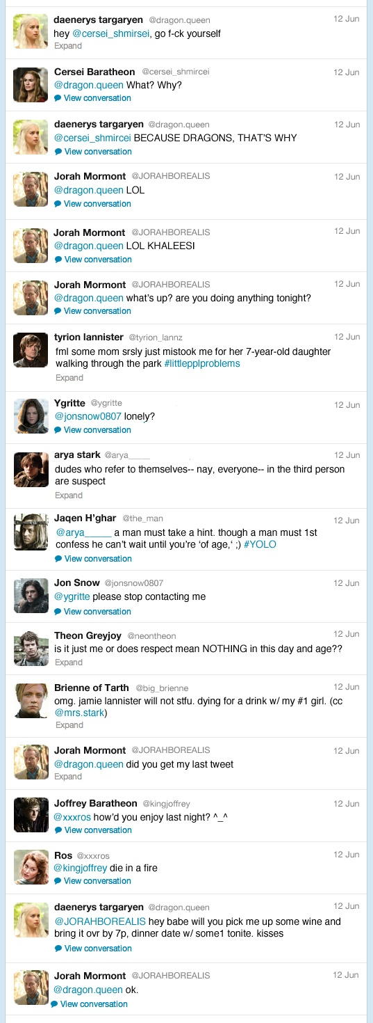 What Game Of Thrones Characters Would Tweet, If They HadTwitter