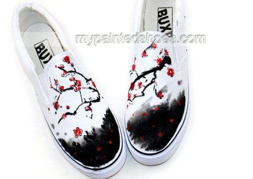 Chinese Wintersweet Inspired Aesthetic Hand Painted Canvas Shoes,Low-top Painted Canvas Shoes