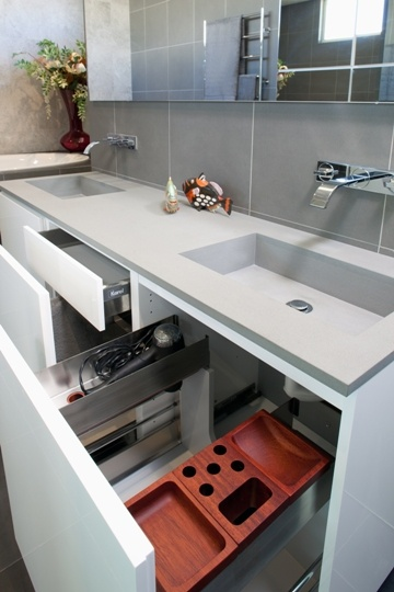 grey stone benchtop with integrated sinks