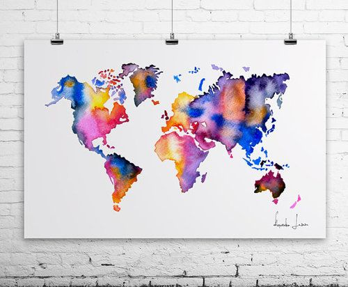 17 best world maps images on pinterest world maps water colors world map watercolor print wall art giclee art prints and posters for sale artollo gumiabroncs Choice Image