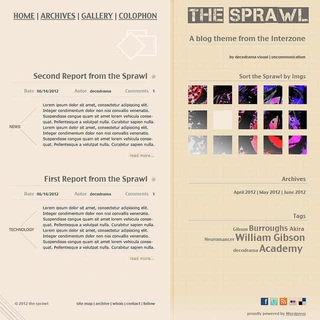 Sprawl, a blog from the interzone theme for Wordpress 3.4 by decodrama visual, via Flickr