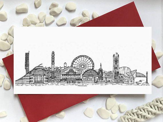 Manchester card  skyline landmark landscape card  Manchester