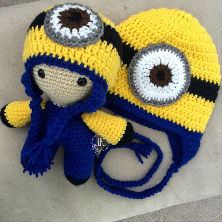 Minion inspired Big Head Baby Doll and matching hat  #crochet #handmade #crochetedwithlove