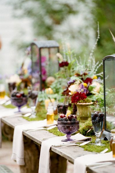Love the purple carnival glass and the textures of this table scape.
