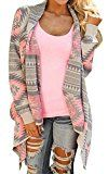 Myobe Womens Aztec Print Drape Open Front Drape Boyfriend Cardigan Sweaters XX-Large Pink Red