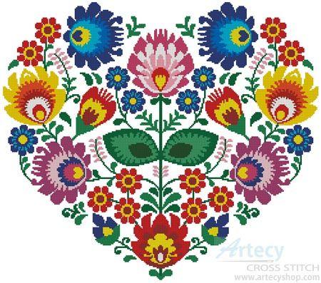 Polish Folk Heart - Cross Stitch Chart - Click Image to Close