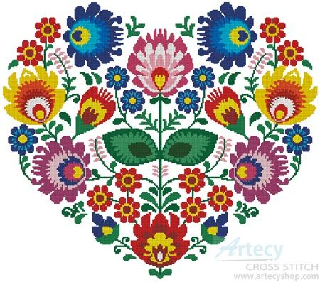 Polish Folk Heart - Cross Stitch Chart - Click Image to Close