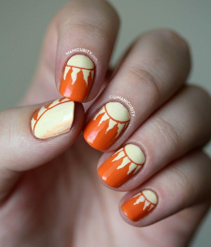 Kiss My Face Sunscreen nail art - sunshine, sun half-moon (half-sun? - Best 25+ Sun Nails Ideas On Pinterest Summer Nails, Pretty Nails