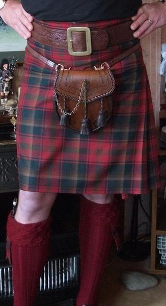 Maple Leaf Tartan Kilt; love the belt, tartan, & sporran. But it's too short!