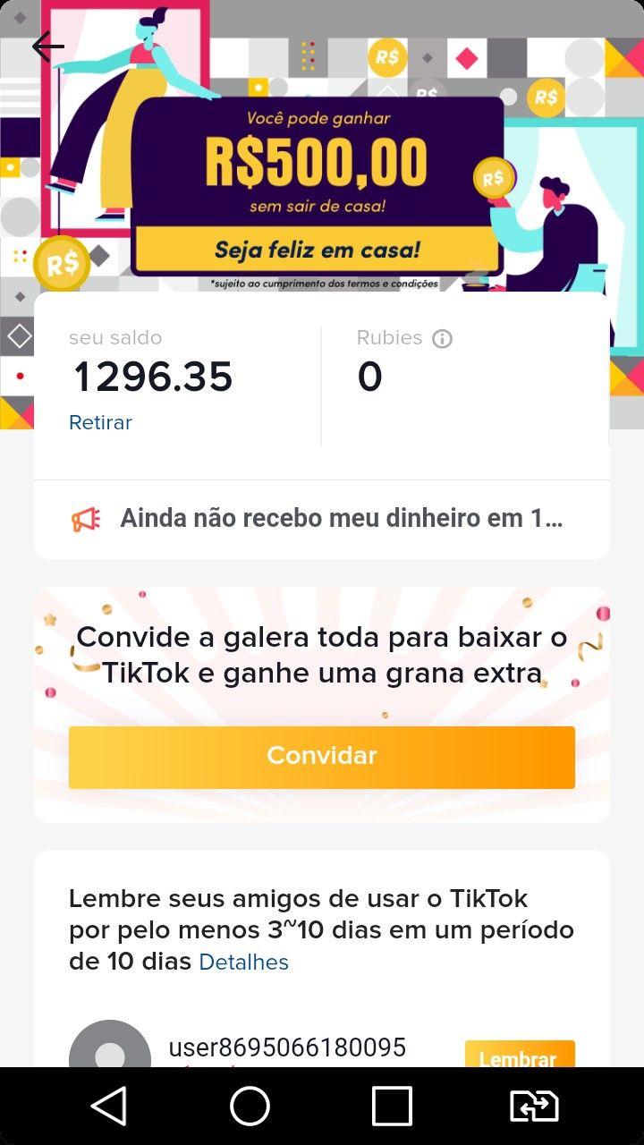 Prova De Pagamento No Tik Tok Como Ganhar Dinheiro Com O Tiktok 2020 Video App App Funny Gif