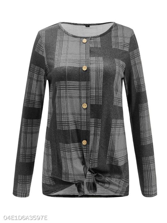59bf288b Round Neck Lace Up Loose Fitting Checkered Long Sleeve T-Shirts #fashion  #styles