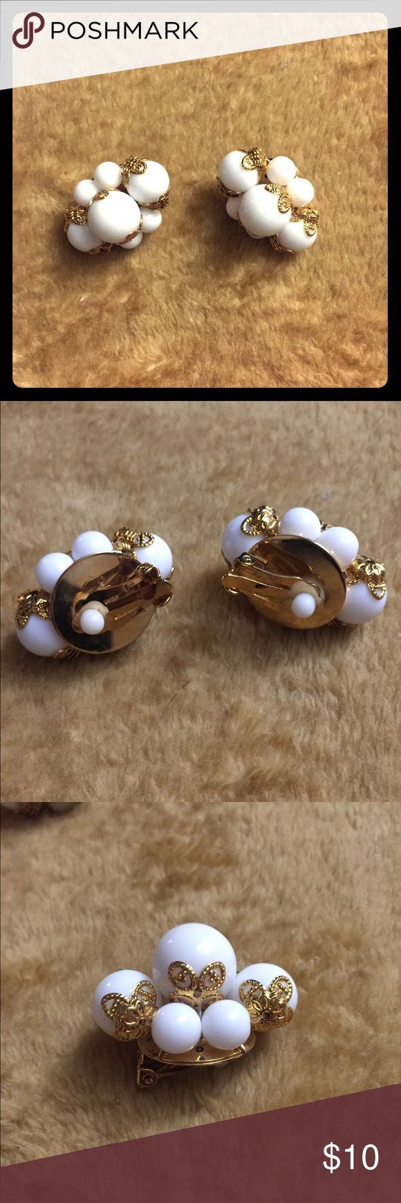 Joan River white bead gold tone clip-on earrings CLIP-ONS!! Large earrings about 1.5in along the longest portion. Pre-owned Joan Rivers Jewelry Earrings