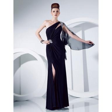 Sheath/Column One Shoulder Floor-length Jersey And Chiffon Evening Dress – US$ 178.19