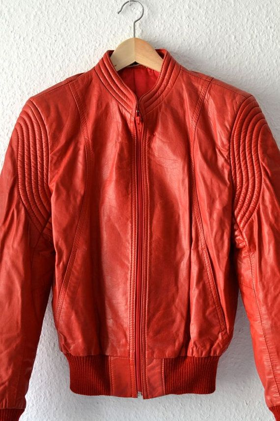 Vintage red leather jacket men women unisex by MightyVintage