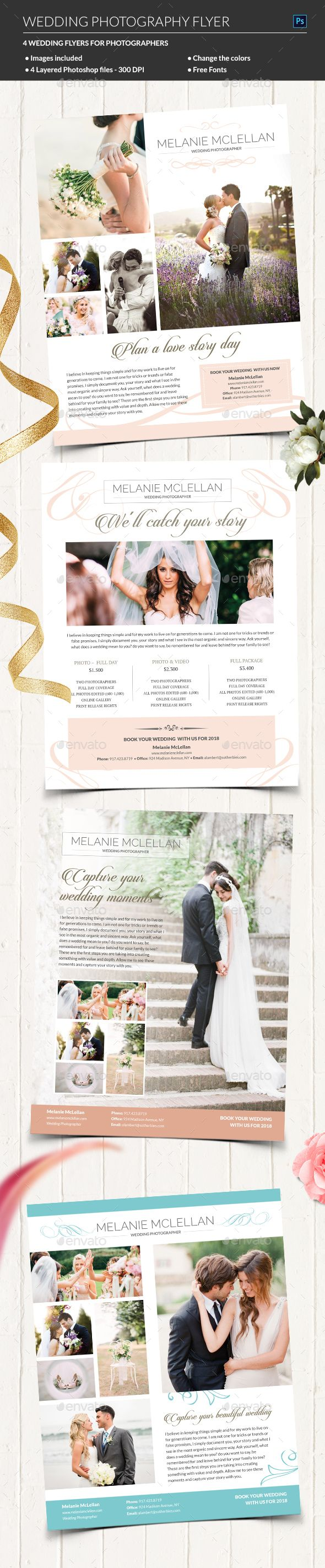 Wedding Photography Flyer — Photoshop PSD #simple #just married • Available here → https://graphicriver.net/item/wedding-photography-flyer/19619779?ref=pxcr