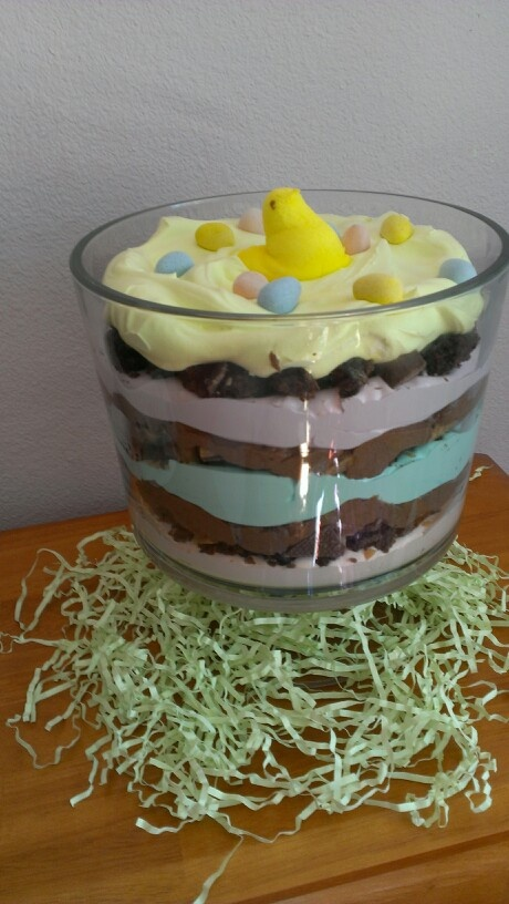 Easter Trifle Layers Of Colored Cool Whip Brownie Pieces