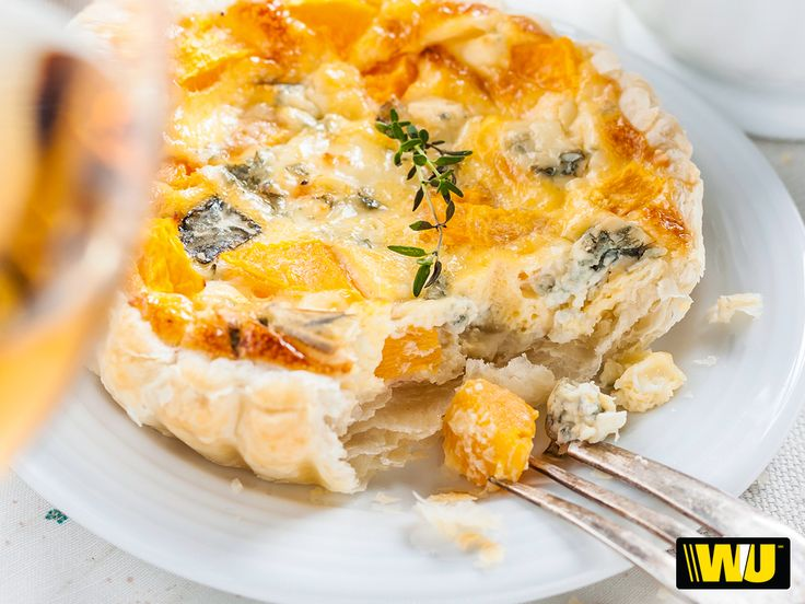 Sacré bleu! This pumpkin and blue cheddar cheese quiche will be the big veggie hit on #Friendsgiving. Find the recipe here or check out our Pinterest to explore more #GlobalPotluck #Nomnom!