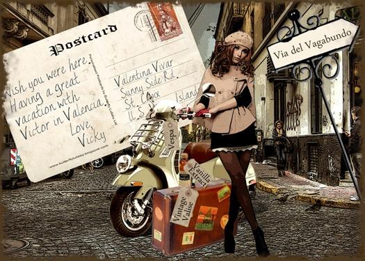 V is for...   (#Vintage, #vacation, valise, #Vespa)