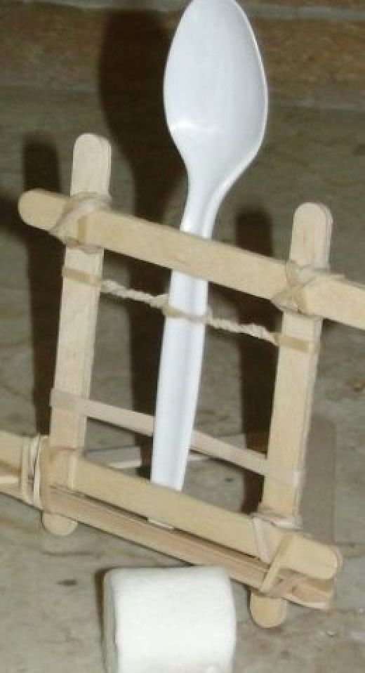 Marshmallow catapult from lesson on levers (part 2 of 5)                                                                                                                                                                                 More
