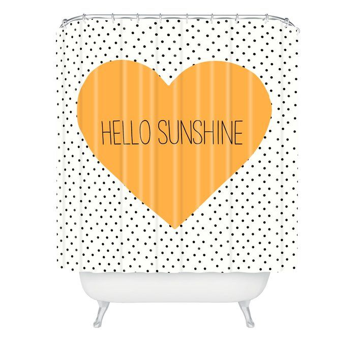 Dawley Hello Sunshine Heart Polyester Single Shower Curtain With