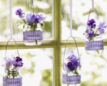 återbruk, pyssel, pysseltips, fönsterdekorationer, blomdekorationer, glasburkar, återbruka glasburkar, inredning, heminredning