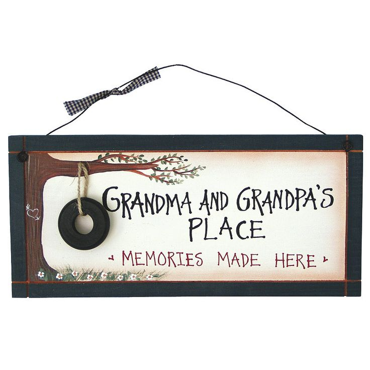 """These rustic plaques are sure to bring a smile to your grandparents faces. Wooden signs with painted details, and other accents added for a 3D look, wire hanger. Dimensions: 6"""" H x 12"""" W Shipping weig"""