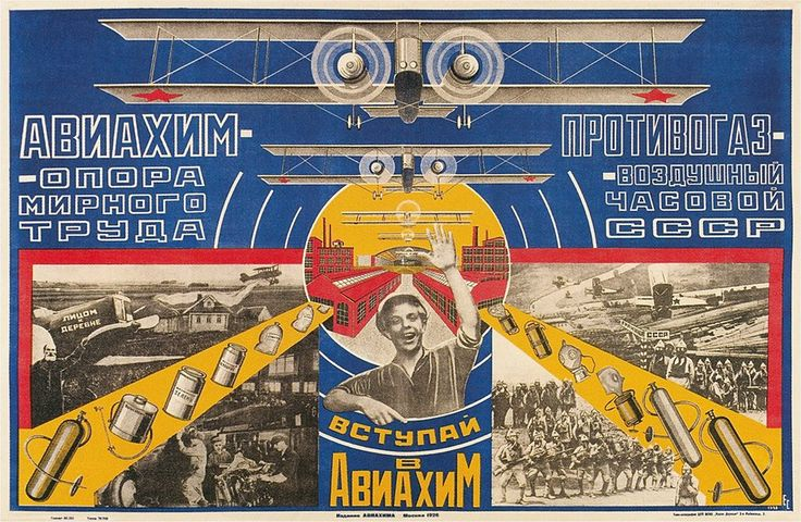 Soviet Aviation Propaganda Poster ca 1920s