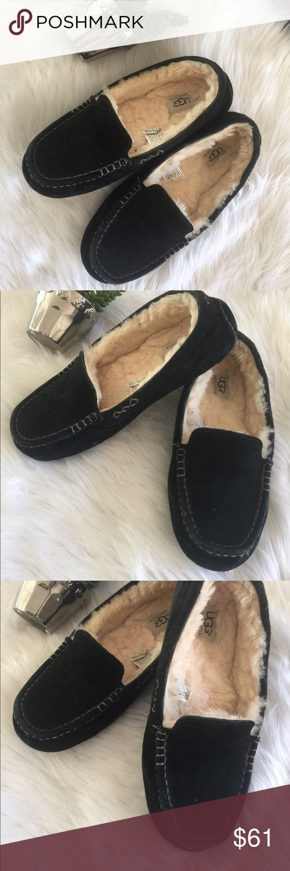 Ugg black suede moccasin slippers ladies Sz 9 Great, minimally worn condition, very light use/wear, even soles are great! UGG Shoes Moccasins