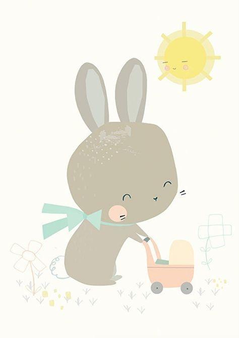Kaart Konijn met poppenwagen. Lief pastel kleurige ansichtkaart met konijn achter de poppenwagen. Ontwerp: Vicky Riley.  illustratie kinderkamer babykamer decoratie pastel