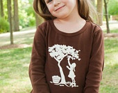Girl in the Orchard Long Sleeved Nostalgic Graphic Tees Dress in Chocolate with Soft White / Ivory: Orchard Long, Chocolate, Girl, Graphic Tees, Tee Dress, Tees Dress, Nostalgic Graphic