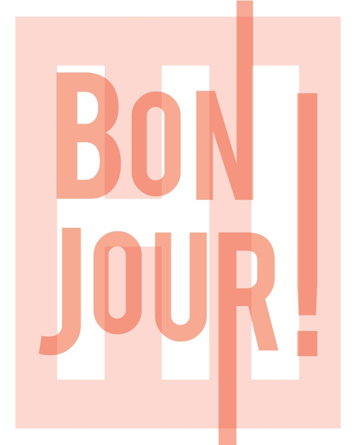 Bonjour, French, hello hi, greetings, typography art print, feminine, modern home entry foyer art, blush pink: 11x14 inches. $22,00, via Etsy.