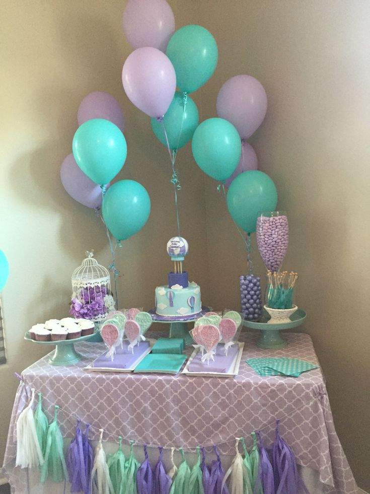 Mint and lavender baby shower