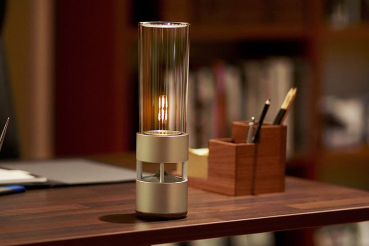 The best design has some element of surprise, as in the Sony Glass Sound Speaker, the most untraditional bluetooth speaker we have ever seen. The glass cylinder is able to transmit sound that is crisp and clear and is reported to capture the human voice with surprising clarity. The aluminum base houses the speaker which is battery powered, while the glass top holds an LED filament that mimics candlelight.  industrial design, product design, tabletop accessory, technology, sound design