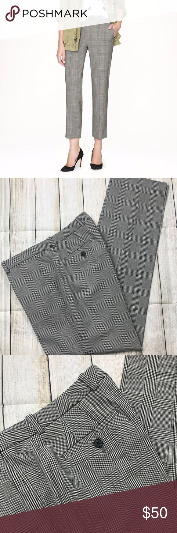 Womens j Crew tall eaton boy trouser pants plaid 4 Excellent condition! Please see the photos I have attached.   If you need measurements feel free to ask!  I am open to reasonable offers and I always ship out the item within 1 business day! J. Crew Pants Trousers