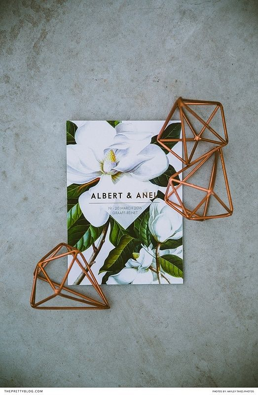 Botanical inspired wedding stationery with geometric copper details | Stationery by Gera de Wet | Photograph by Hayley Takes Photos |
