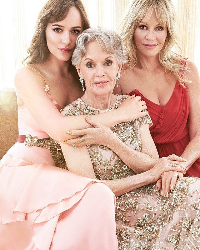 Exclusive: Tippi Hedren, Melanie Griffith, and Dakota Johnson in their First Formal Portrait //In honor of the publication of her memoir, which details the bright and very dark sides of screen stardom, #Birds and #Marnie star #TippiHedren poses with her daughter and granddaughter. #dakotajohnson