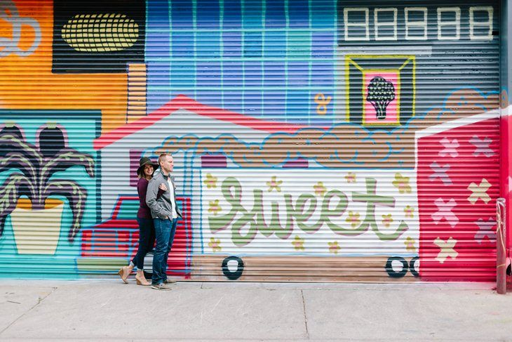 "Graffiti and murals galore with these ""sweet"" engagement photos in downtown Detroit {see more on the blog}"