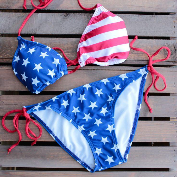 american flag triangle bikini set