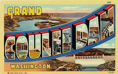 Washington WA 1942 Large Letter Greetings From Grand Coulee Dam Vintage Postcard