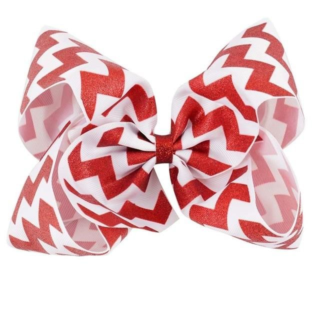 "12 Pcs/lot 8"" Glitter Chevron Printed Ribbon Bow With Clip For Girls Kids Teens Large Striped Hairgrips Hair Accessories"
