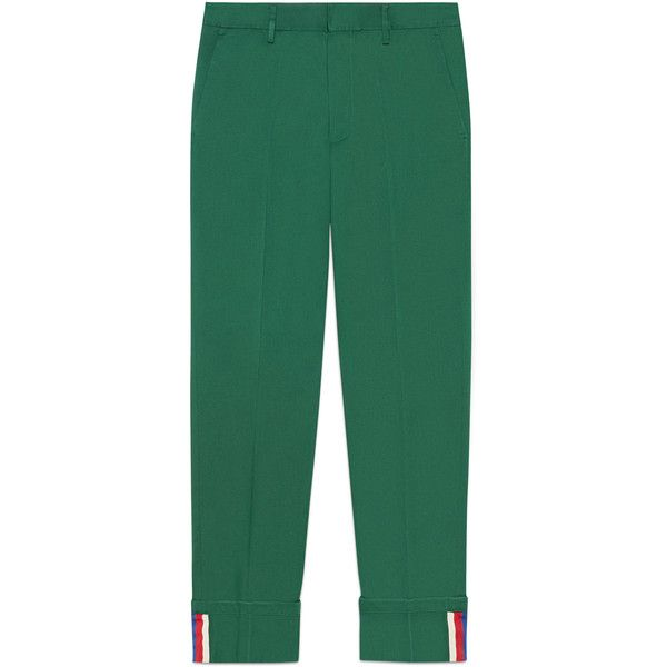 Gucci Cotton Chino With Tape Detail ($560) ❤ liked on Polyvore featuring men's fashion, men's clothing, pants, cotton, men, ready-to-wear, trousers & shorts, men's apparel, mens clothing and gucci mens clothing