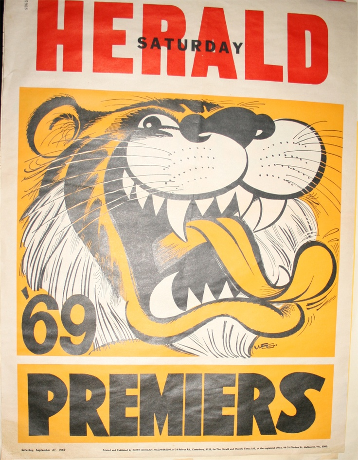 Weg Premiers Poster 1969 Richmond Tigers: Print on A3 to make posters!
