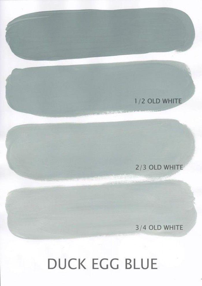 Varianten Duck Egg Blue gemengd met Old White / Annie Sloane chalkpaint