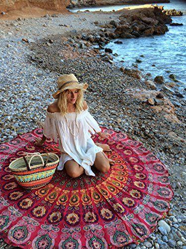 UrbanCharm - rosso indiano pavone per Roundie spiaggia coperta Mandala rotondo tovaglia in cotone telo mare Gypsy hippy boho