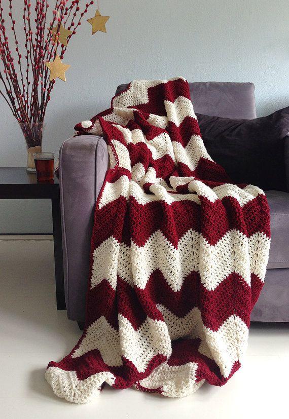 Christmas blanket crochet chevron afghan burgundy red and cream made to order home decor Crochet home decor on pinterest